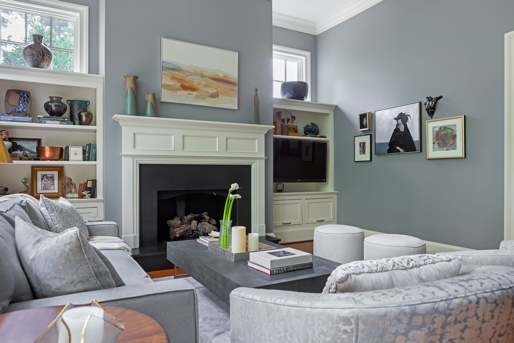 Neutral Color Living Room Gallery Wall Art