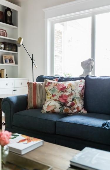 Pillow Detail Navy Sofa