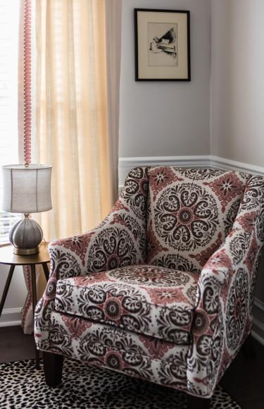 Reading Nook Corner Ikat Fabric Chair