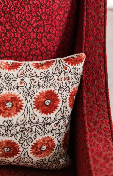 Red Black And White Pillow Detail