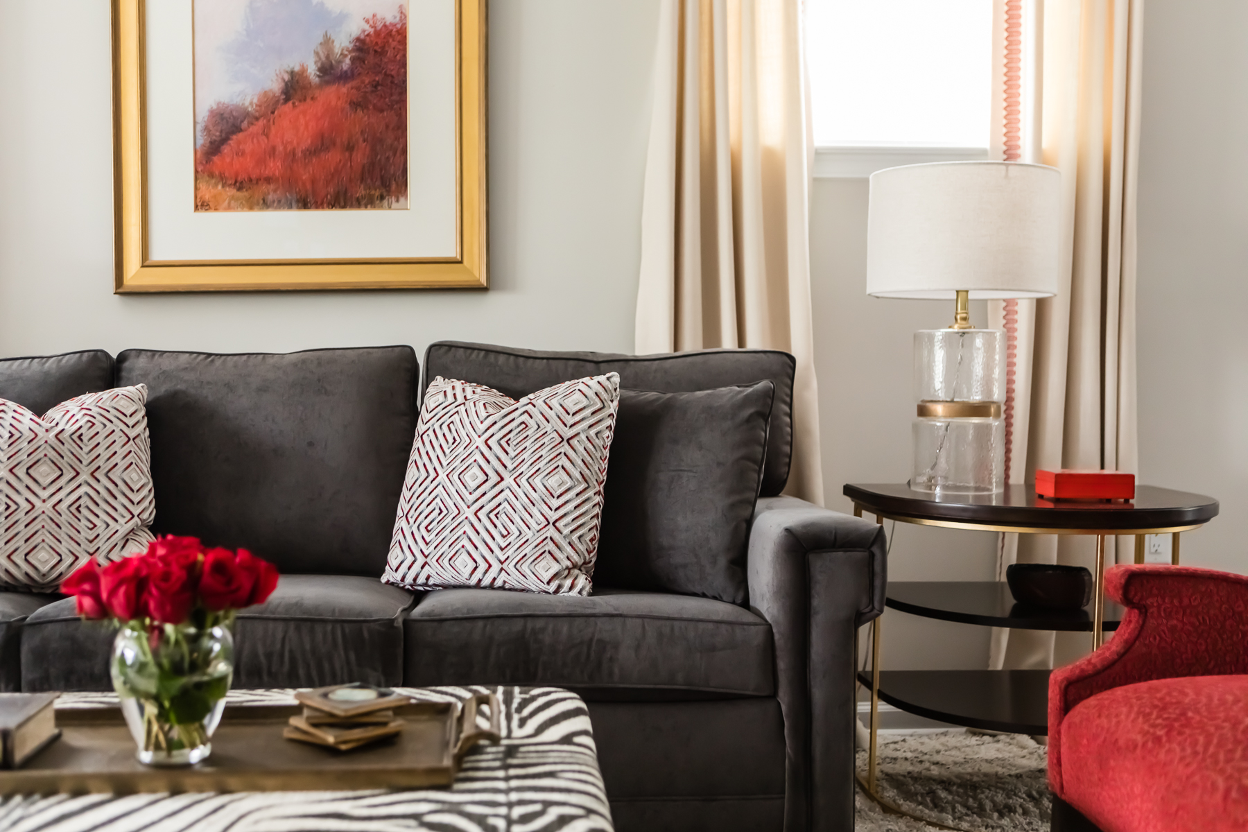 Red White And Gray Living Room Scheme