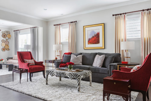 Red White And Gray Living Room Zebra Ottoman