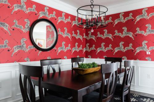 Scalamandre Red Masai Zebras Wallpaper Dining Room