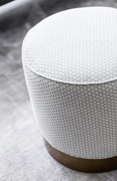 Swivel Pouf Ottomans Grey White Fabric