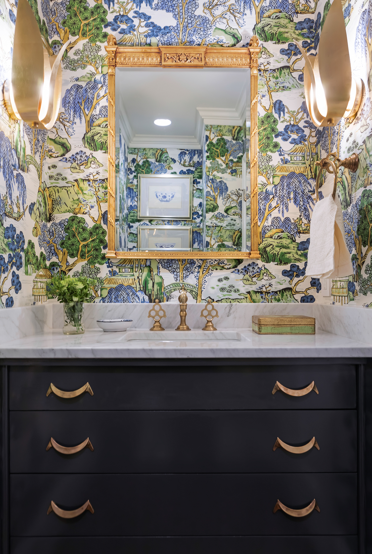Thibault Asian Scenic Blue And Green Chinoiserie Wallpaper Powder Room