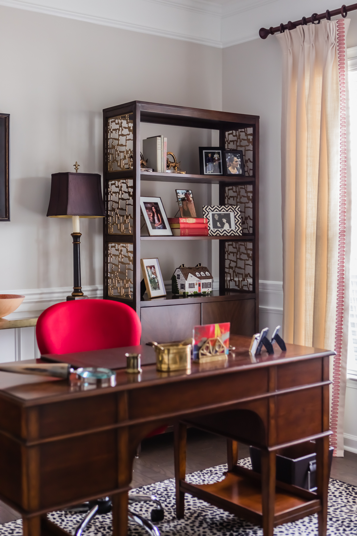 Wood Brass Cut Out Office Bookcases