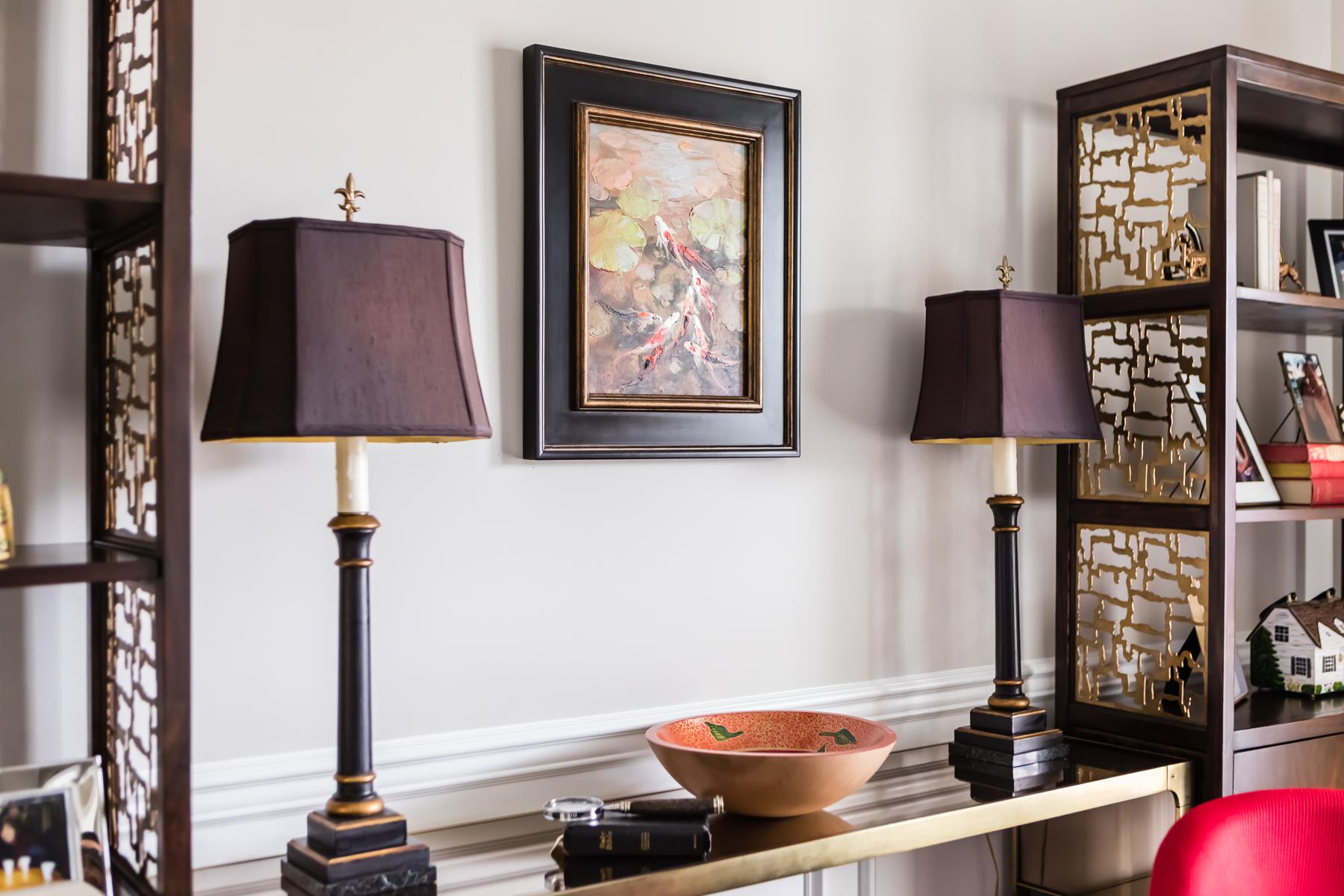 Wood Brass Cutout Detail Bookshelves