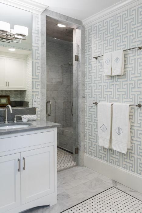 Zero Entry Flush Shower Marble Floor Asian Wallpaper